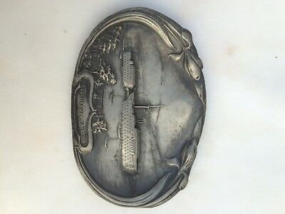 hms britannia& hindostan arts crafts pin tray in soft metal