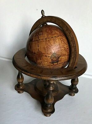 """Vintage Wooden Old World Style Desktop Globe~8.5"""" High~Made In Italy"""