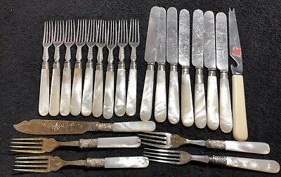 Lovely Antique 21 Piece Mother Of Pearl -Silver Plated Cutlery Mixed Lot
