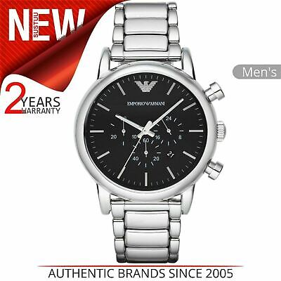 Emporio Armani Classic Men's Watch AR1894¦Chronograph Black Dial¦Stainless Strap