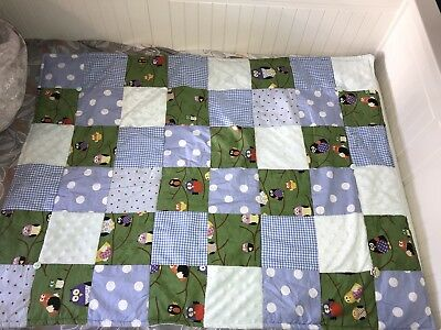 Cot Bed Nursery Quilt Bed Cover Owl Theme Unisex