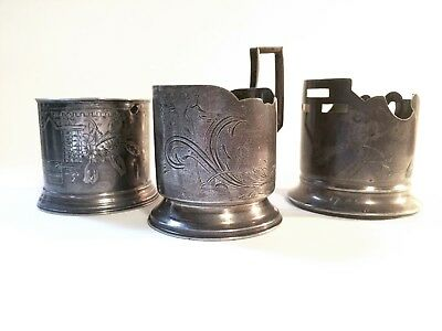 Art Nouveau Impirial Russian 84 Silver Tea Glass Cup Holders 875 Sterling Moscow