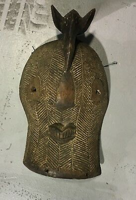 Authentic RARE Vintage LARGE Original Carved African Bird Face MASK Tribal Art