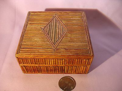 "A Vintage ""peoples Republic Of China"" Bamboo Trinket Box With Cloth Lining"