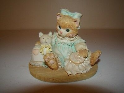 """1992 Enesco Calico Kittens  """"Friendship Is Sewn Stitch By Stitch"""" -Retired-3""""H"""