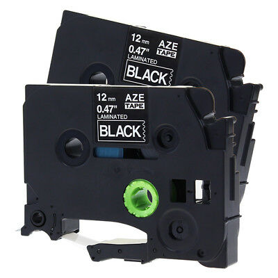 2PK White on Black Label Tape Compatible Brother TZe 335 P-Touch 12mm LabelMaker