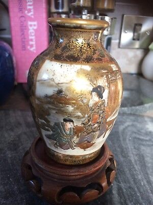 Antique Chinese Satsuma Japanese Signed Vase Stand