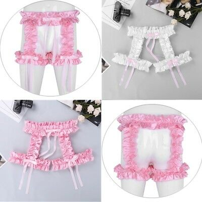 Sexy Men Lingerie Frilly Garter Belt Sissy Maid Hollowed Knicker Brief Underwear