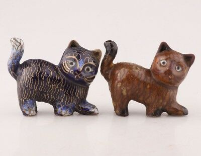 Unique Chinese Cloisonne Statue Cat Old Handmade Christmas Decoration Gift