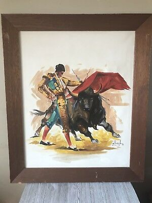 MCM Matador Bull Fighter Painting Galindo A Mexico