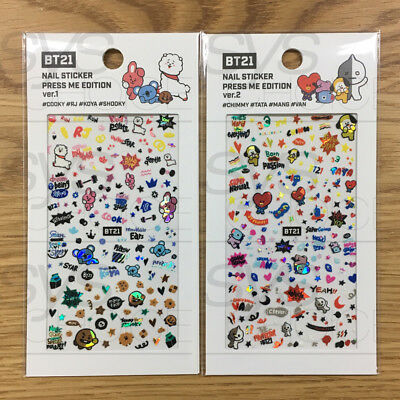BTS BT21 Official Authentic Goods Nail Sticker Press Me Edtion Ver1+Ver2 2SET