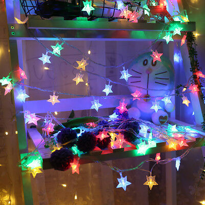 20LED STAR LIGHTS BATTERY Operated Fairy String Wire Party ...