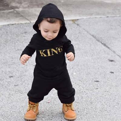 "Cool Newborn Baby Kids Boy's ""KING"" Hooded Hoodie Romper Jumpsuit Clothes Outfit"