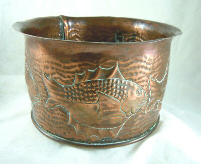 Glorious Antique Newlyn Copper Fish Jardiniere