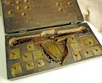 Antique Medical Apothecary Scale Diamond Scale 18th Century Wood Case Complete
