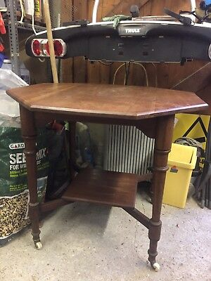 Victorian Octagonal Side Table With Shelf On Turned Legs