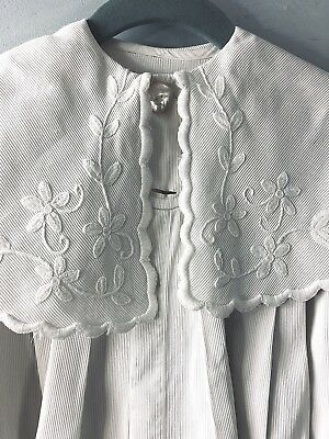 Antique Victorian Baby Doll Girls White Coat jacket-Hand embroidered pique-4-5-6