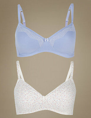 MARKS SPENCER M/&S ANGEL 2 PACK PADDED NON-WIRE WHITE//AQUA BRAS 28 30 32 A B C D
