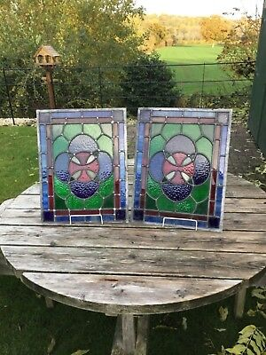 Vintage pair of leaded light stained glass panels multi coloured