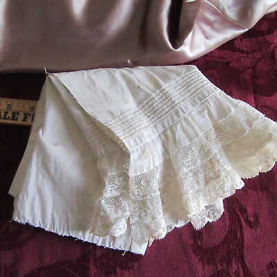 Antique French Valenciennes SCALLOP LACE Trim PETTICOAT FLOUNCE PIN TUCKS DOLLS