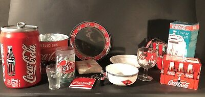 Lot of Coca-Cola Plate Bowls Cookie Jar Glasses, Tins, Recipes, Napkins, Straws