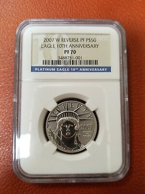 2007 W NGC PF70 Reverse Proof Platinum $50 Eagle 10th Anniversary Coin Perfect!