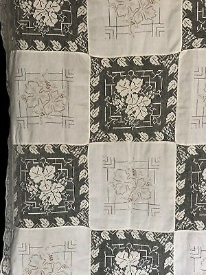 """Vtg ecru Army Navy tablecloth embroidered leaves 72 x 128"""""""