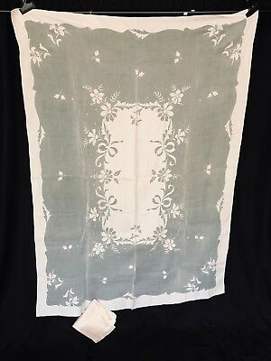 """Vtg pink organdy with pink applique tablecloth + 6 napkins 48 x 60"""""""