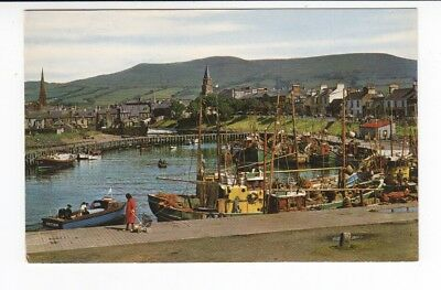 Postcard. Harbour side and Old Stumpy Clock Tower. Girvan
