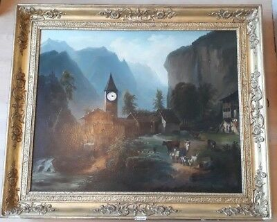 Antique Georgian Oil Painting with Clock and missing Music Box Movement C.1830