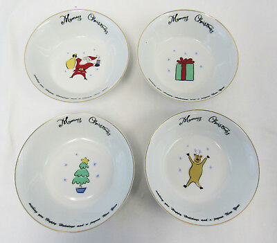 "Merry Brite ""Merry Christmas"" Set Of 4 Soup Cereal Bowls"