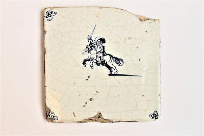 Early Antique Dutch Delft Tile Early 17th Century Man Riding Horse with Sword