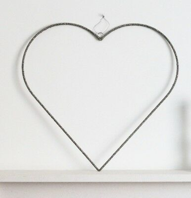 Beautiful Shabby Chic Silver Glass Beaded Glam Hanging Heart Home Decor 26cm