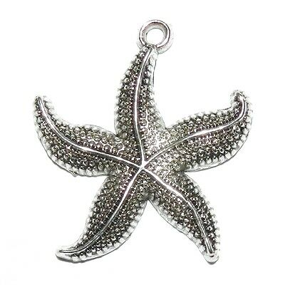M7125 Antiqued Silver 26mm Starfish Focal Pendant Charm 10pc