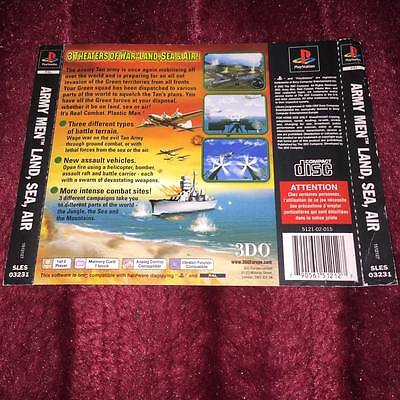 back cover artwork for army men land sea air  ps1 NO GAME DISC INCLUDED