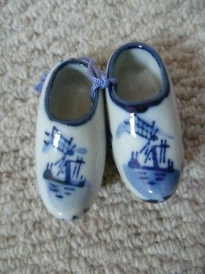 Vintage Delft Blue & White Pair of Small Clogs - Perfect!