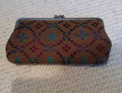 Vintage 1960s Welsh Wool Tapestry Purse Mod Gogo Original Clasp Top