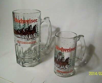 """2 BUDWEISER CLYDESDALES GLASS STEIN 5.5"""" & 8"""" mug King Of Beers 1988 Christmas"""
