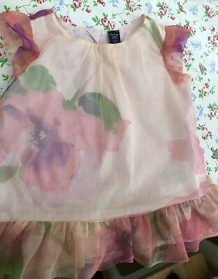 Baby Gap Girls Frilled Floral Peach Pink Top Tunic Flowers Floral 2 Years 2-3