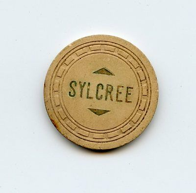 Sylcree, White, Rect mold, Five Points GA        illegal casino / poker chip