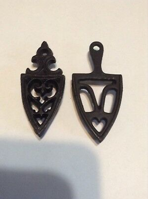 Pair of VINTAGE MINI CAST IRON TRIVETS IRON ART 3 inches long with legs