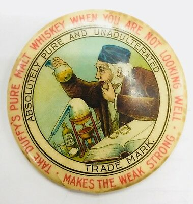 Vintage Duffy's Pure Malt Whiskey Distillery Advertising Celluloid Pocket Mirror