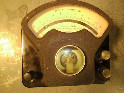 Vintage Art Deco Central Scientific Co. Cenco D C Volt Ammeter Steam Punk