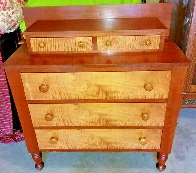 Beautiful Antique Cherry/Tiger Dove Tailed Maple Chest of Drawers--Must See