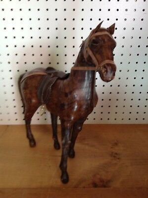 """13"""" Leather Wrapped Horse Figurine                                          B586"""