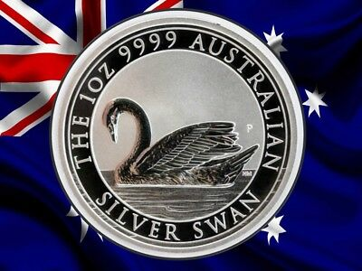 2017 SWAN 1 oz 99.99% FINE SILVER BU COIN DIRECT FROM MINT ROLL - AUSTRALIA