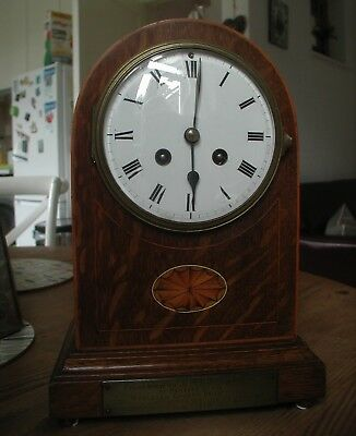 Working Inlaid French Mantel Clock From The Early 20Th Century