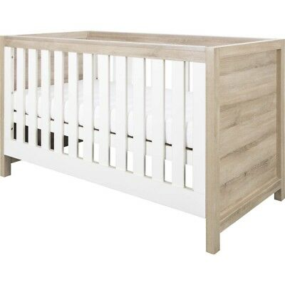 New In Box Tutti Bambini Modena Cot Bed (Oak with White) - Birth to 6yrs