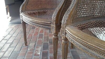Pair antique french vintage Louis chairs chairs w/Off White Ultrasuede yardage