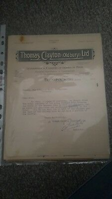 1927 Thomas Clayton Oldbury Letter The Coventry Canal Navigation